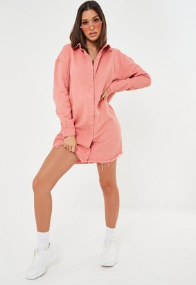 Missguided Pink Oversized Denim Shirt Dress