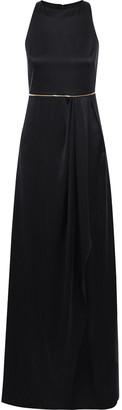 Brandon Maxwell Zip-embellished Pleated Silk-satin Gown