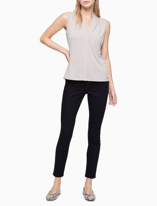 Calvin Klein Pleated V-Neck Sleeveless Top