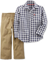 Carter's 2-Pc. Cotton Check-Print Shirt & Pants Set, Baby Boys (0-24 months)