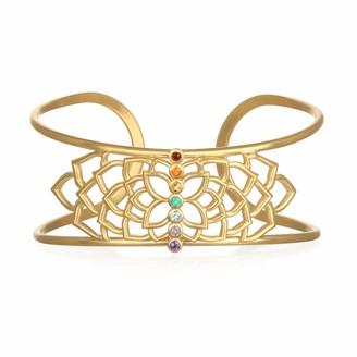 Satya Jewelry Multi Stone Gold Chakra Cuff Adjustable One Size