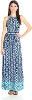 London Times Women's Ikat Stripe Halter Maxi Dress