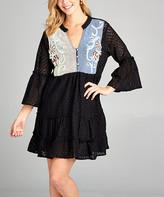 Simply Boho La Simply Boho LA Women's Casual Dresses black - Black Sheer-Back Embroidered Button-Front Peasant Tunic Dress - Women