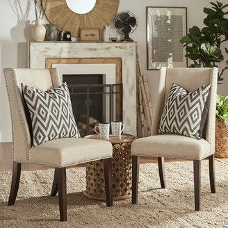 Three Posts Chicago Upholstered Dining Chair Upholstery Color: Beige Linen