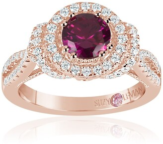 Suzy Levian Rose Gold Plated Sterling Silver Lab Ruby CZ Ring