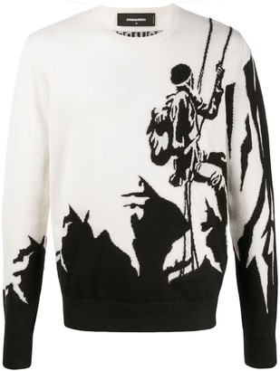 DSQUARED2 mountaineer motif intarsia-knit jumper