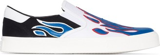 Amiri red, white and blue Flame slip on leather sneakers