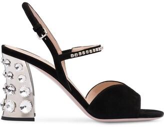 Miu Miu Suede Embellished Sandals