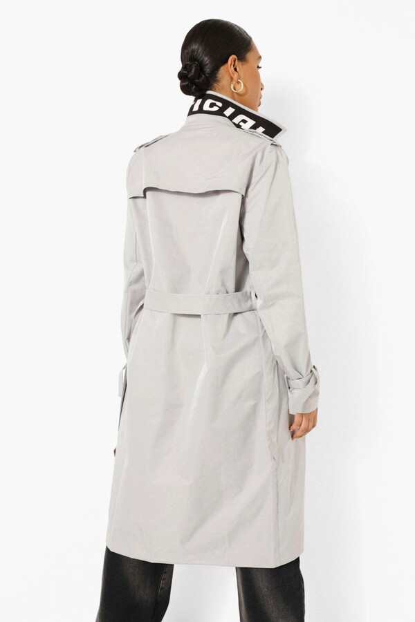 Thumbnail for your product : boohoo Branded Belted Trench Coat