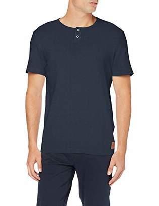 Tom Tailor Men's Geripptes Henley T-Shirt, (Sky Captain Blue 10668)