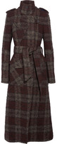 Topshop Plaid Bouclé-tweed Trench Coat