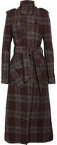 Topshop Plaid Bouclé-tweed Trench Coat