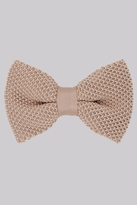 Moss Bros Stone Knitted Bow Tie