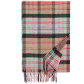 Johnstons of Elgin Beige and Red Contemporary Tartan Merino and Cashmere-Blend Scarf