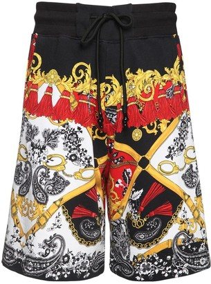 Versace Belt Print Cotton Jersey Shorts