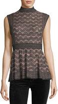 M Missoni Sleeveless Lurex®; Greek Key Knit Peplum Top