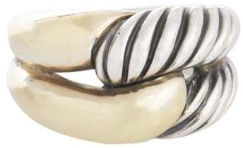 David Yurman 14K Yellow Gold and Sterling Silver Double Band Ring Size 6.5