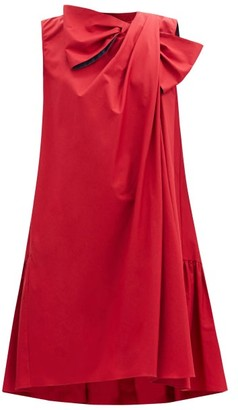 Roksanda Selena Bow Applique Draped Cotton-poplin Dress - Burgundy