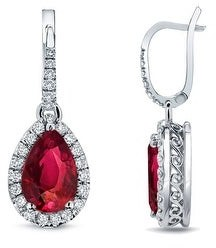 Auriya 14k Gold 2ct Pear-cut Red Ruby Halo Diamond Dangle Earrings 2/5ct TDW