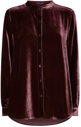 Eileen Fisher Velvet Mandarin Collar Shirt