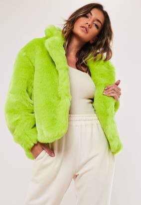 Missguided Neon Green Faux Fur Collared Coat