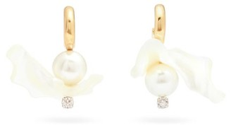 Simone Rocha Mismatched Studded Mother-of-pearl Drop Earrings - Pearl