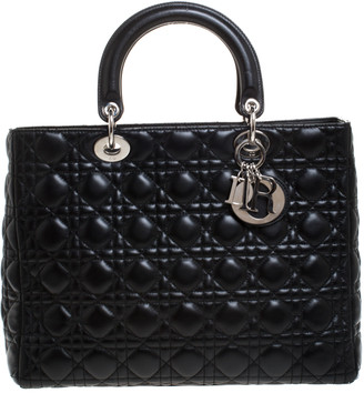 Christian Dior Black Leather Large Lady Tote