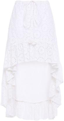 SUNDRESS Asymmetric Embroidered Cotton-blend Skirt