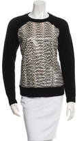 Jason Wu Snake Skin-Trimmed Wool Sweater