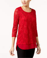 JM Collection Lace Sequin Top, Created for Macy's