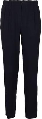 Giorgio Armani Navy Blue Viscose-wool Blend Trousers