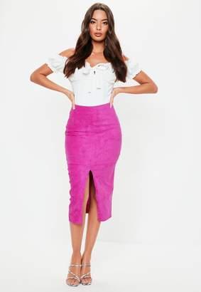 Missguided Fuchsia Suede Split Front Midi Skirt