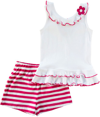 Florence Eiseman Girl's Floral Ruffle Sleeveless Top w/ Striped Shorts, Size 2-6X