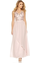 Quiz Pink Embellished Waterfall V Neck Maxi Dress