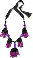 Etro Tasseled Beaded Necklace - Purple