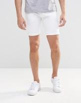 Asos Denim Shorts In Super Skinny In White
