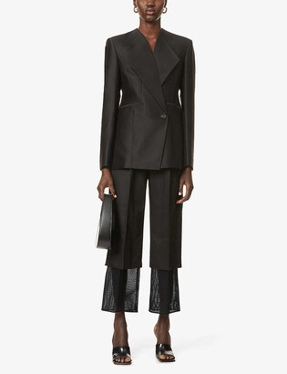 AKIRA NAKA V-neck wool and silk-blend blazer