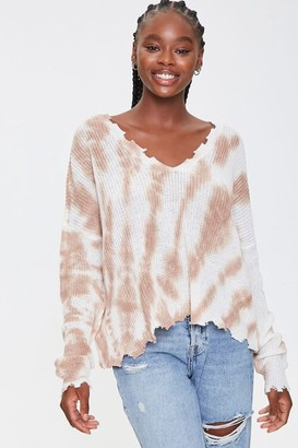 Forever 21 Distressed Tie-Dye Sweater
