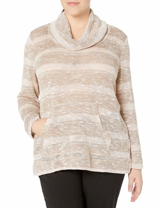 Ruby Rd. Women's Plus Size Cowl-Neck Metallic Stripe Jersey Pullover with Pouch Pockets