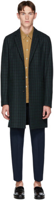 Paul Smith Green and Navy Tartan Check Wool Epsom Coat
