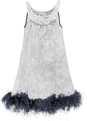 Miu Miu Feather-trimmed denim dress