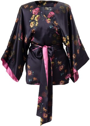 Castlebird Rose Paris 1927 Silk Kimono Top - Deep Purple