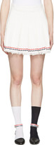 Thom Browne White Selvedge Tweed Pleated Miniskirt