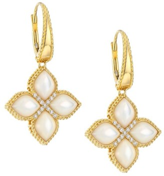Roberto Coin Venetian Princess 18K Yellow Gold, Diamond & Mother Of Pearl Flower Drop Earrings
