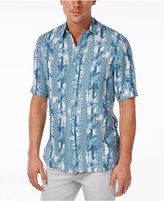 Tasso Elba Men's Big and Tall Silk Linen Print Short-Sleeve Shirt
