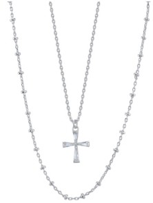 Unwritten Fine Silver Plated Clear Cubic Zirconia Cross Duo Necklace with Beaded Second Chain