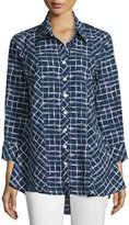 Neiman Marcus 3/4-Sleeve Printed Swing Blouse, Navy/White
