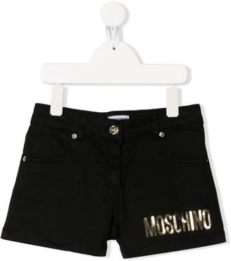 MOSCHINO BAMBINO Sequinned Denim Shorts