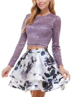 City Studios Juniors' Glitter-Lace Top & Floral Skirt