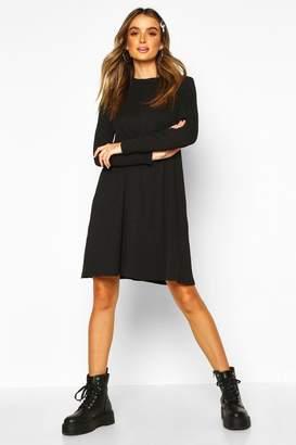 boohoo Cotton Blend Long Sleeve Swing Dress